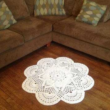 """Many Color Choices Large 39"""" Thick Soft Crochet Round Sunshine Doily Rug (shown in Snow White) Made to Order Soft for Baby Nursery - Wedding"""
