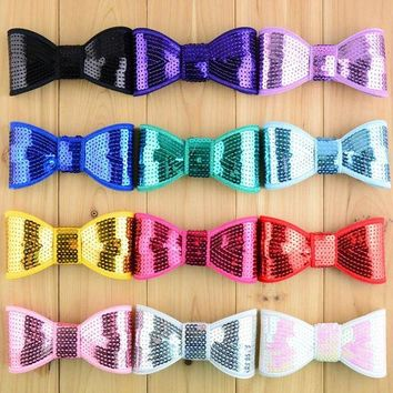 LMF78W 20pcs New arrival 4.5' big sequin bows girls high quality embroidery Christmas bow for hair accessories headband HDJ09