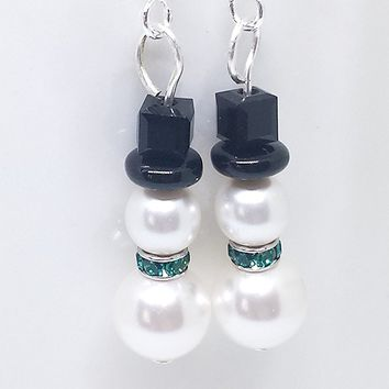 Snowman earrings with Swarovski pearls and green Swarovski scarf.