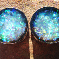 Glitter Plugs - Black Ice - 2g, 0g, 00g, 7/16, 1/2