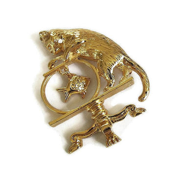Vintage Kitty Cat with Dangle Fish in Fish Bowl Brooch by Avon
