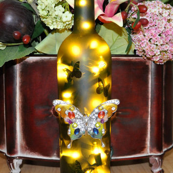 Butterfly Frosted Lighted Wine Bottle Lamp  by TipsyGLOWs