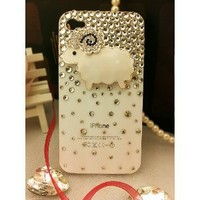 3d Bling Crystal Case, Cover for Apple Iphone 4 and 4s-White Sheep
