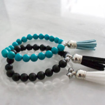 Tassel Bracelet in White, Black, and Turquoise