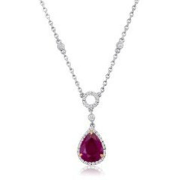 Blount Jewels 3.76 Ct Ruby And Diamond Necklace (rd 0.37ct, Rb 3.39ct)