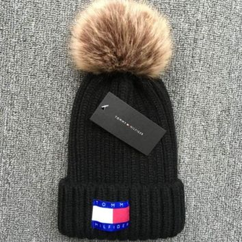 Tommy Hilfiger 2018 new thick knit cap and qiu dong warm wool hat Black