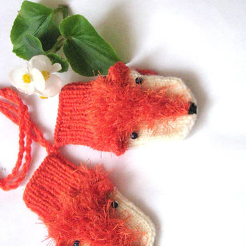 Fox mittens for a 12 months, 3 years, 5 years old  baby, Hand knitted Polyester and  Acrylic yarn mittens, knitted  gloves, arm warmer