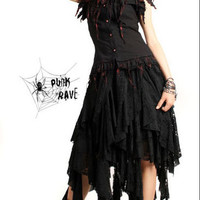 PUNK Gothic visual kei Black turkey style Vest short sleeves Blouse S-XL