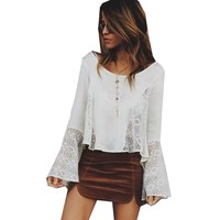 Women Simple Fashion Pagoda Sleeve Long Sleeve Lace Stitching Chiffon Shirt Tops