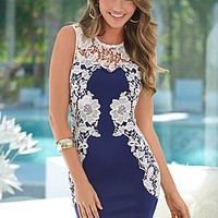Navy Multi (NVMU) Lace Detail Dress