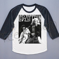 Led Zeppelin Shirt Heavy Metal Rock T-Shirt Raglan Tee Shirt Baseball Tee Shirt Long Sleeve Shirt Women T-Shirt Unisex T-Shirt Size S
