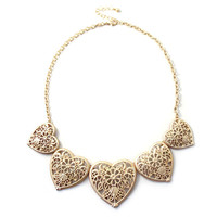 Women Adjustable Clasp Plated Cutout Floral Heart Golden Necklace