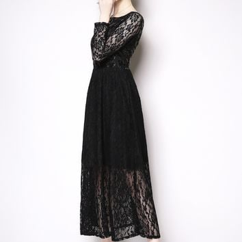 LONG SLEEVE SEQUIN LACE FIT AND FLARE DRESS