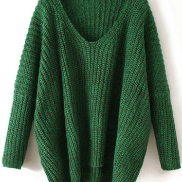 Green Cable Knit Chunky Sweater V Neck