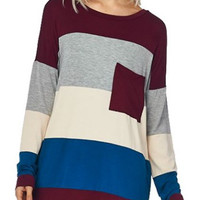 Modal Soft Color Block Tunic T Shirt Pocket Top-Wine/Blue
