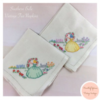 Vintage Hand Embroidered Napkins Southern Bell Tea Napkin Set of Two / Southern Girl/ Vintage Linens/ Tea Party/ Shabby Chic/ Country Chic