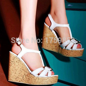 Open toe high-heeled shoes small yards 31 32 vintage platform shoes wedges sandals plus size 40 - 43 women's shoes