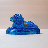 Fenton Lion Azure Blue Iridized Carnival Glass Paper Weight Bright Clear Blue