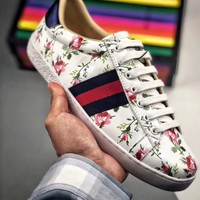 Gucci Women Leisure Flat Sneakers Floral Shoes B-CSXY White&Flower