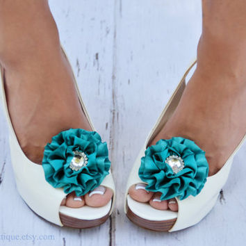 Peacock Blue Shoe Clips - Wedding, Bridesmaid, Date Night, Party, Everyday wear