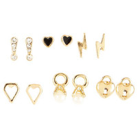 6 Pair Geo / Charm / Pearl Earring Set - Gold
