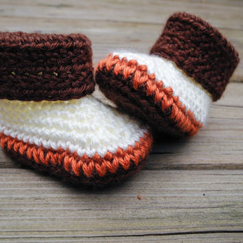 Crochet Baby Booties Elephant Orange Cream Brown African Animal - Crochet Baby Boots - Baby Shoes - Baby Clothes - Gender Neutral