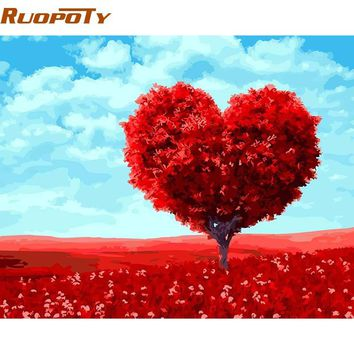Romantic Heart Tree DIY Paint Numbers Kit: Includes Acrylic Paints, Brushes and Canvas