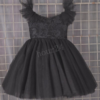 Black Lace Tulle Girls Dresses, Fashion Flower Girls Dress, Party Dresses, Pageant  Dresses, Wedding Party Dresses,Girls Dresses