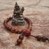 Mala Bracelet, Rosewood Beads, 27 Beads, Quarter Mala, Yoga Bracelet, with Red Wood Guru Bead