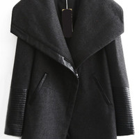 Long Sleeve Zipper Pockets Coat