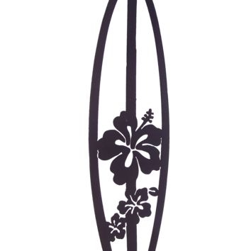 Surfboard with Hibiscus Flowers Metal Wall Art Wall Decor