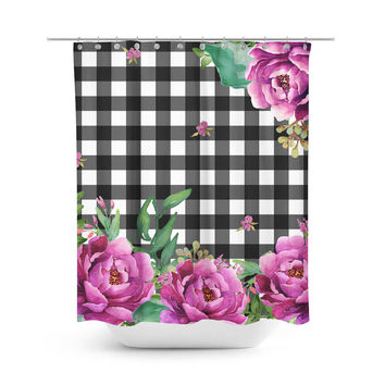 Pink Sunrise in Gingham Shower Curtain