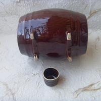 Soviet Vintage Wine Barrel with a Shot Made in Latvia in 1970s.