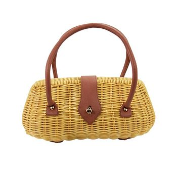 Vintage Style Brown Wicker basket Erin Handbag