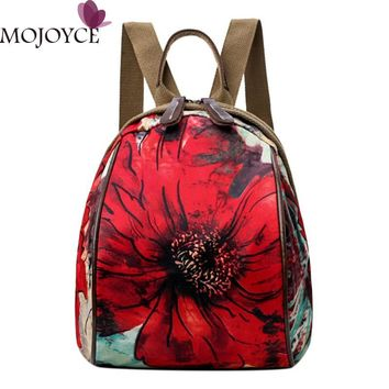 Chinese Style Vintage Women Print Oxford Cloth Shoulder Bags Adjustable Vertical Square Zipper Travel Small Messenger Backpacks