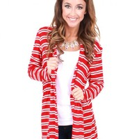 Between The Lines Red And White Cardigan | Monday Dress Boutique