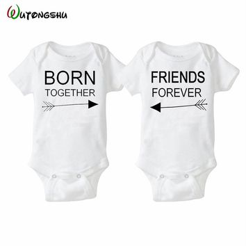 Fashion Summer White Baby Bodysuits 0-12Months Twins Baby Boy Girl Clothes 1st Birthday Gift For Babies Newborn Baby Clothing