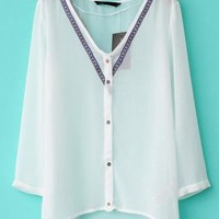 Fashion 3/4 Sleeve V-neck Sheer Chiffon Shirt