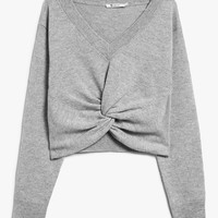 T by Alexander Wang / L/S Deep V Twist Front Sweater in Heather Grey