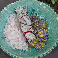 White Sage and Blue Lotus Smudge Stick with Rose Quartz and Blue Lotus