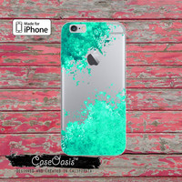 Mint Green Paint Splatter Watercolor Art Tumblr Clear Rubber Phone Case For iPhone 6 and iPhone 6 Plus + Transparent Crystal Custom Case