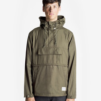 Torpedo Pocket Anorak Pullover Windbreaker Jacket in Olive