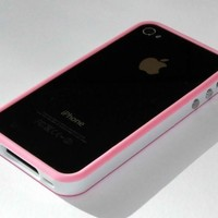 white / pink bumper case for iphone4 4G with button for Valume / power