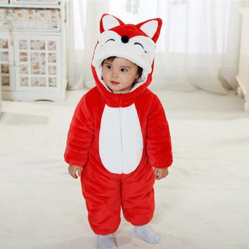 2017 Toddler Infant Newborn Winter Baby Romper Cotton Lining Flannel Halloween Cute Red Animal Fox Baby Clothes Costume