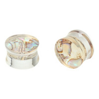 Shell Inlay Clear Acrylic Saddle Plugs