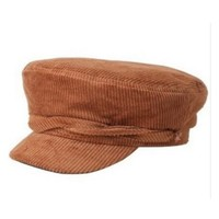 Cognac Colored Corduroy Baker Boy Hat