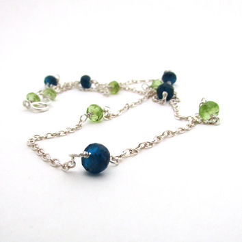Multi gemstone necklace, lime green peridot, teal blue neon apatite,  long necklace, sterling silver wire wrapped jewelry