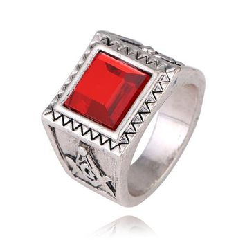 Red and Blue Crystal Stone Masonic Rings [Red & Blue]