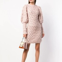 Fleeting Bauble Sweater Dress Round Neck Fitted Waist Ribbed Cuffs Rose Wool Blend Knitted Mini Dress