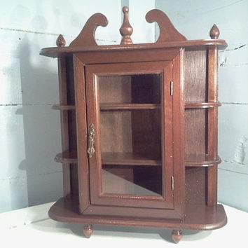SALE Vintage Curio Cabinet Wall Mount or Table Top, Curio Cabinet